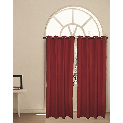 House This 100% Cotton 1 Window Curtain Boho Brick Red