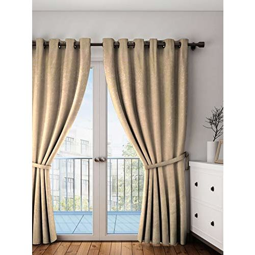 Swayam Printed Blackout Paisley Eyelet Polyester Door Curtain - 7.5ft, Beige