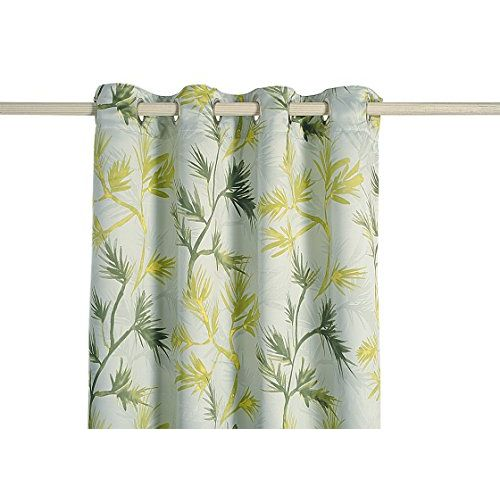 Swayam Sea Green Colour Leaf Sigma Eyelet Curtain-1 Piece