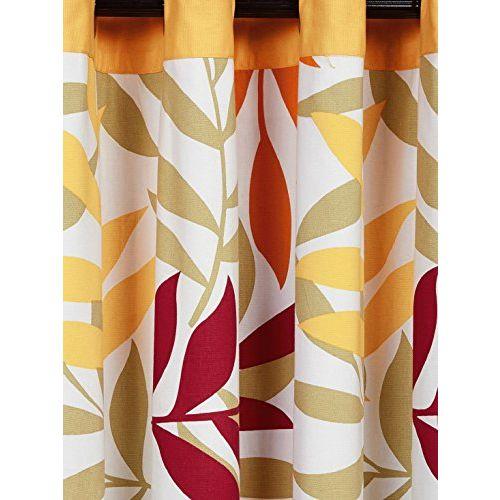 Swayam Yellow Colour Leaf Lining Printed Eyelet Curtain
