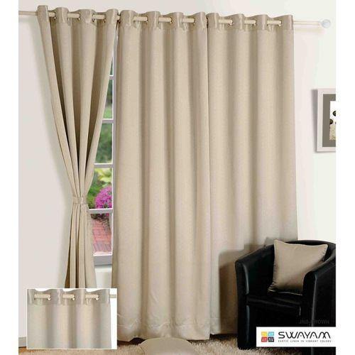 Swayam 152.4 cm (5 ft) Jacquard Window Curtain Single Curtain(Solid, Grey)
