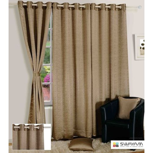 Swayam 274 cm (9 ft) Jacquard Long Door Curtain Single Curtain(Solid, Beige)