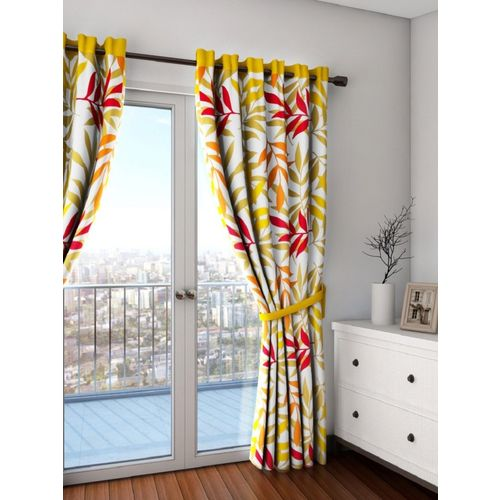 Swayam 228 cm (7 ft) Cotton Door Curtain (Pack Of 2)(Floral, Yellow)