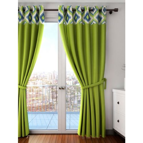 Swayam 152 cm (5 ft) Cotton Window Curtain (Pack Of 2)(Solid, Green)