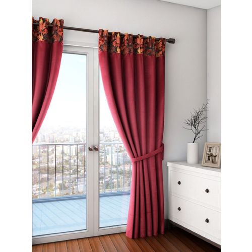 Swayam 228 cm (7 ft) Polyester Door Curtain (Pack Of 2)(Solid, Maroon)