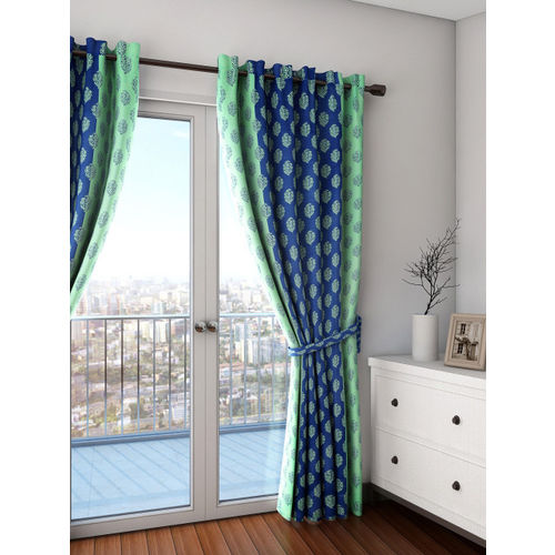 SWAYAM Sigma Blue & Green Single Printed Blackout Door Curtain