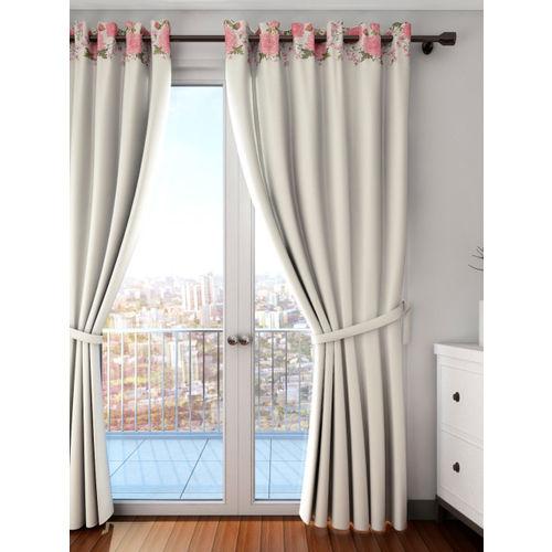 SWAYAM Cream-Coloured Single Floral Print Blackout Long Door Curtain