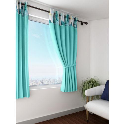 Swayam Turquoise Blue Single Blackout Window Curtain