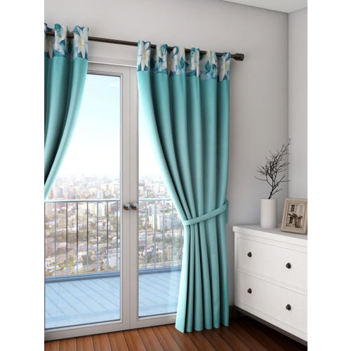 SWAYAM Turquoise Blue Single Blackout Door Curtain