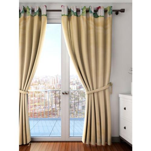 SWAYAM Beige Single Blackout Long Door Curtain
