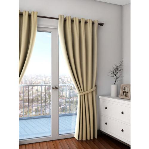SWAYAM Beige Single Blackout Door Curtain