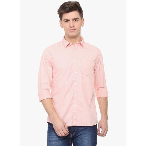 People Pink Printed Regular Fit Casual Shirt