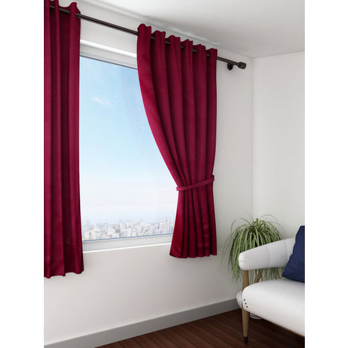 SWAYAM Wine-Coloured Single Blackout Window Curtain