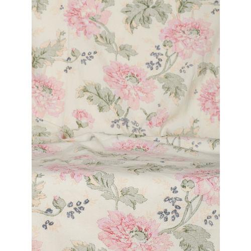 SWAYAM Off-White & Pink Single Printed Window Curtain