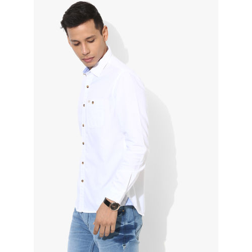 People White Cotton Solid Slim Fit Casual Shirt