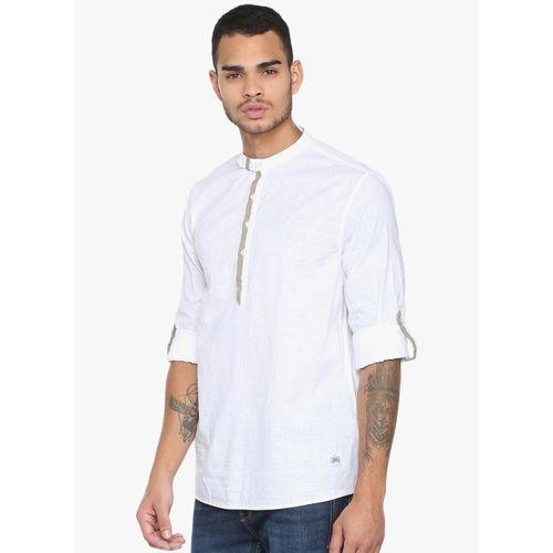 People White Self Design Regular Fit Casual Shirt