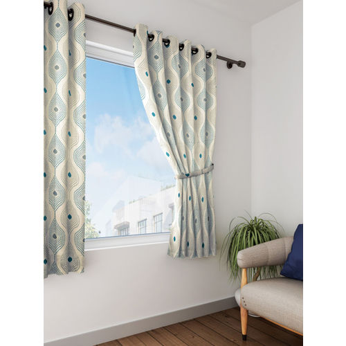 SWAYAM Off-White Black Out Window Curtains