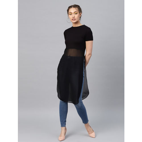 SASSAFRAS Women Black Solid Semi-Sheer Longline A-Line Top