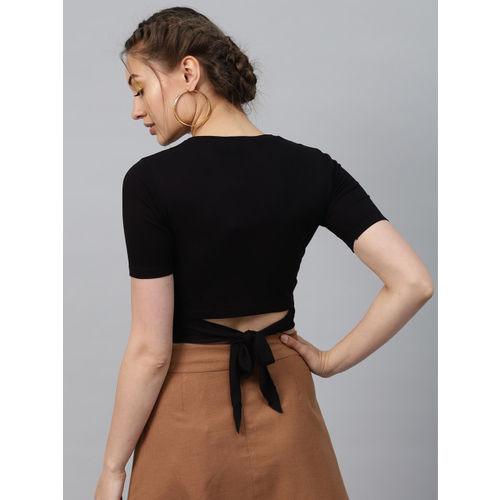 SASSAFRAS Women Black Solid Styled Back Crop Top