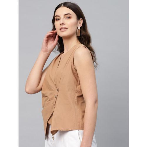 SASSAFRAS Women Brown Solid Wrap Top
