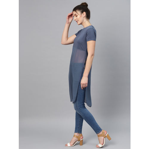 SASSAFRAS Women Blue Semi-Sheer Longline Top