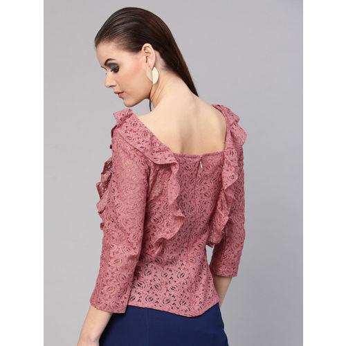 SASSAFRAS Women Dusty Pink Lace Semi-Sheer Top