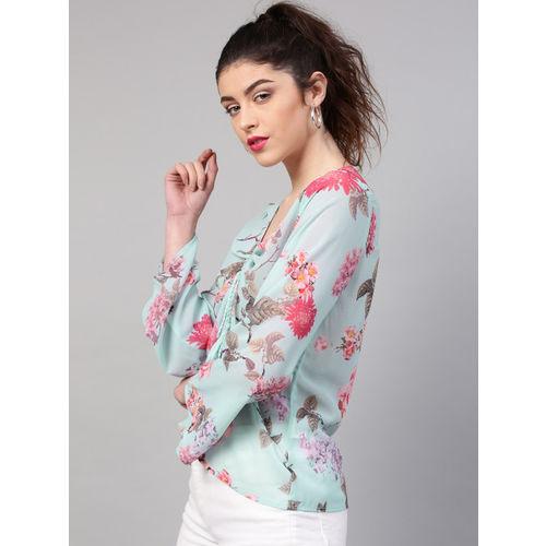 SASSAFRAS Women Blue & Pink Printed Top
