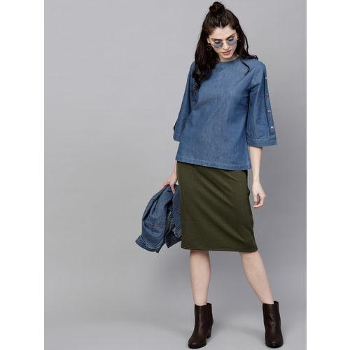 SASSAFRAS Women Blue Chambray Solid Top