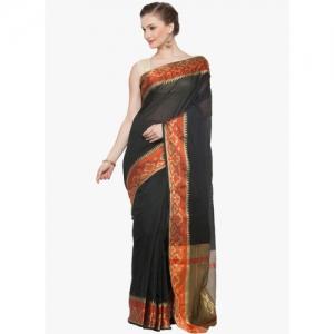 aa47c9f7be Kvsfab Self Design, Solid Banarasi Cotton Silk Saree(Black, Red)