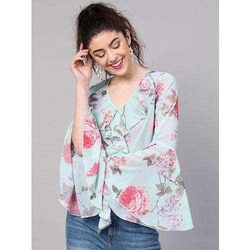 Sassafras Casual Bell Sleeve Floral Print Women's Blue, Pink Top