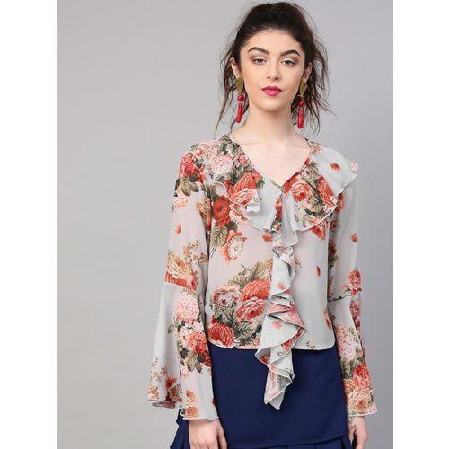 Sassafras Casual Bell Sleeve Floral Print Women's Grey, Orange Top
