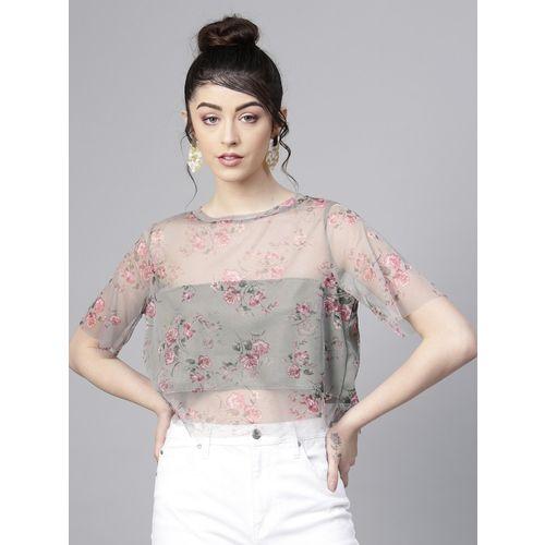 Sassafras Casual Regular Sleeve Floral Print Women's Green, Pink Top