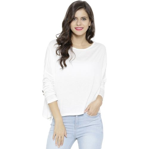 Sassafras Casual 3/4th Sleeve Solid Women's White Top
