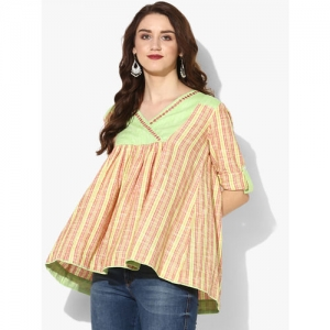Sangria V Neck 3/4Th Sleeves Yarn Dyed Stripes Top