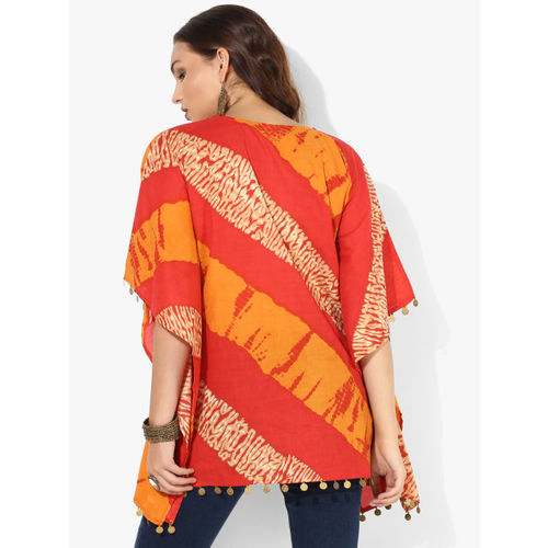 Sangria Round Neck Dyed Georgette Kaftan With Mettalic Coin Trim