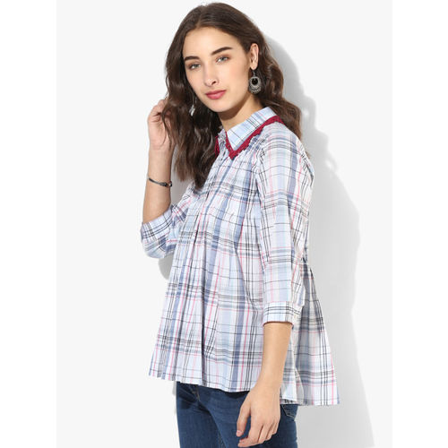 Sangria Women Blue Checked Shirt Style Top
