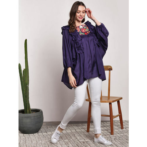 Sangria Women Purple Embroidered Top
