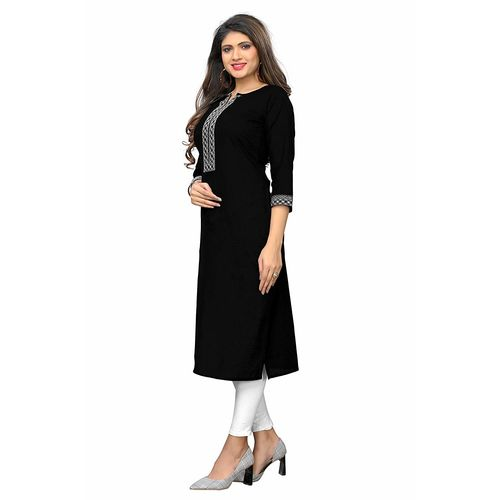 Vaikunth Fabrics Kurti In Black Color And Slub Cotton Fabric For Womens VF-KU-255