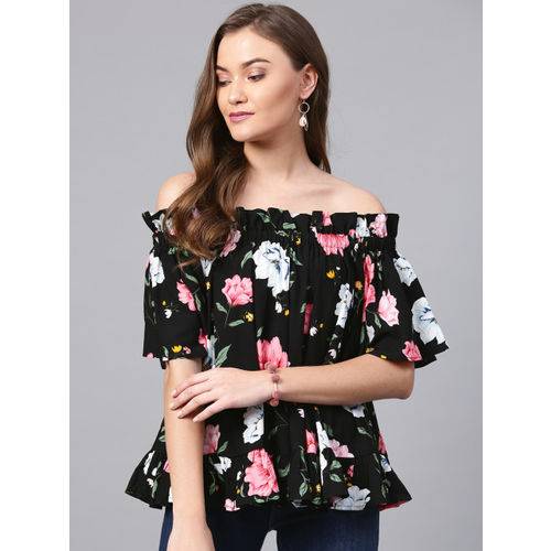 Femella Women Black & Pink Printed Bardot Top