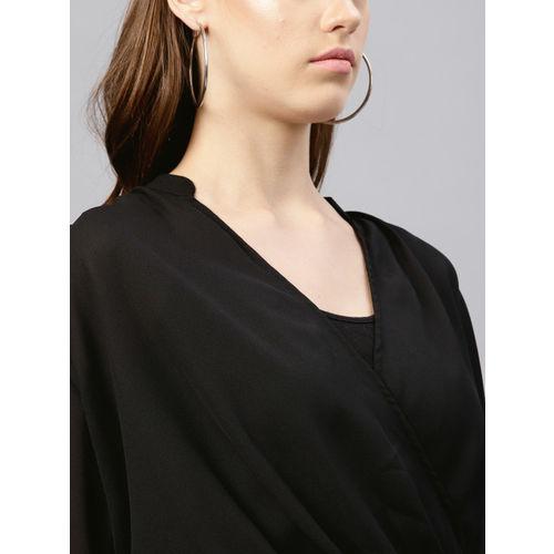 Femella Women Black Solid Crop Wrap Top