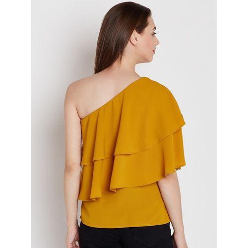 Femella Women Mustard Yellow Solid Top