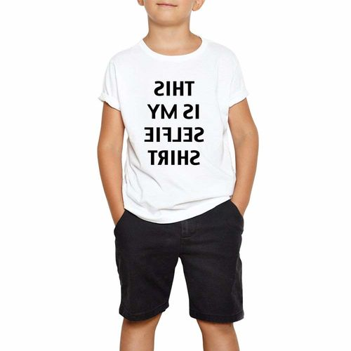 DOUBLE F ROUND NECK HALF SLEEVE WHITE COLOR THIS IS MY SELFIE SHIRT PRINTED T-SHIRT FOR BOYS