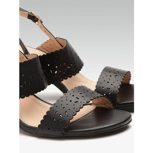 Elle Women Black Cut-Work Block Heels