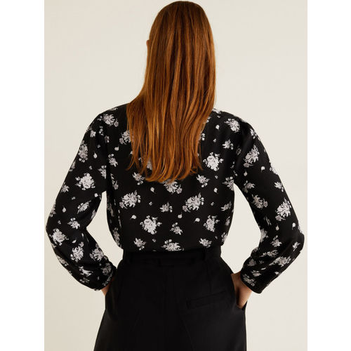MANGO Women Black & Off-White Floral Print Top
