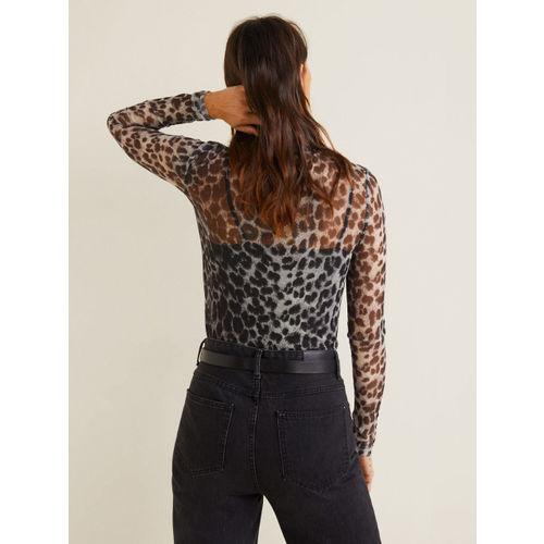 MANGO Women Charcoal Grey & Off-White Sheer Animal Print Net Top