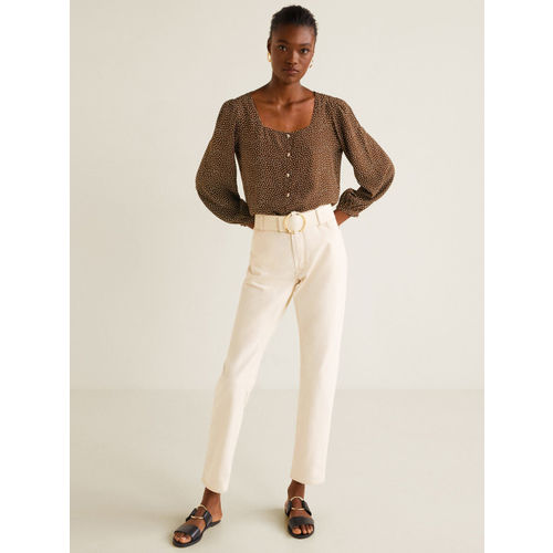 MANGO Women Brown & White Printed Top