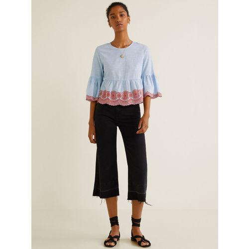 MANGO Women Blue Solid A-Line Top