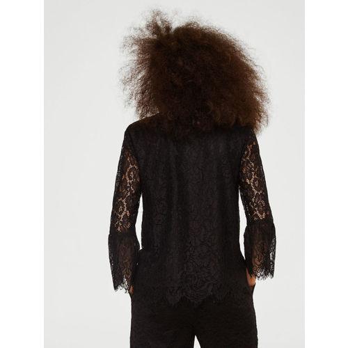 MANGO Women Black Lace Shirt Style Top
