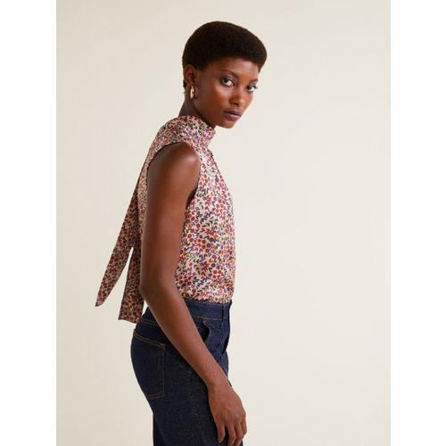 MANGO Women Pink Printed Top