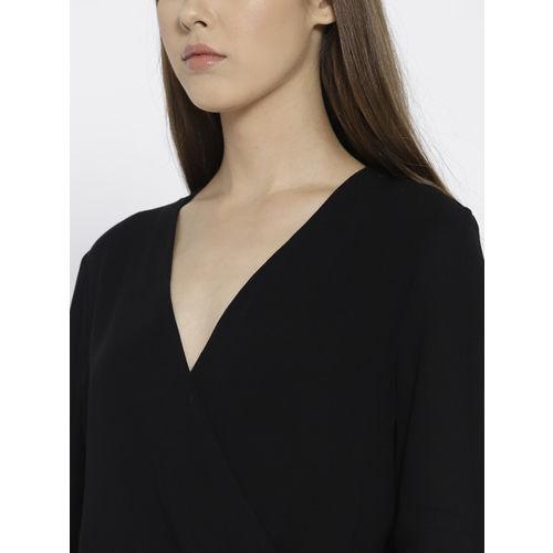 MANGO Women Black Solid Wrap Top